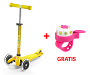 Patinete Mini Micro Deluxe Amarillo Luces LED + Timbre Doodle