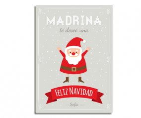 Personalised Laminate Santa Happy Christmas Godmother