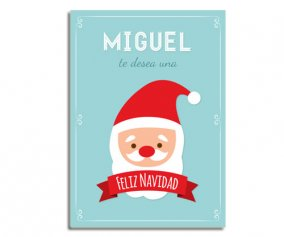 Personalised Laminate Blue Santa