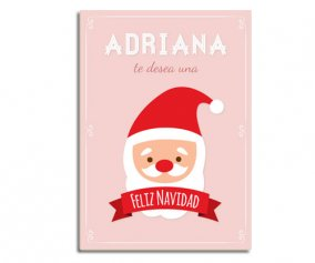 Personalised Laminate Pink Santa