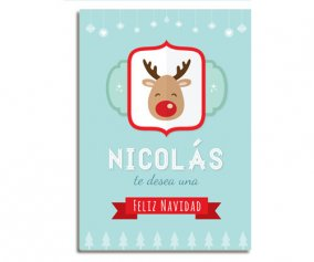 Personalised Laminate Blue Rudolph