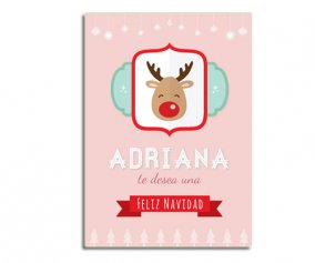 Personalised Laminate Pink Rudolph
