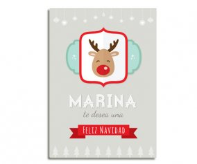 Personalised Laminate Grey Rudolph