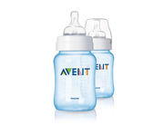 2 Pack of AVENT Personalisable Bottles 260 ML Classic Blue