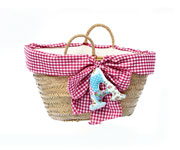 Fuchsia Beach Basket with Matching Initial