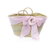 Pink Beach Basket with Matching Initial