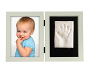 Photo and Footprint Double Frame White