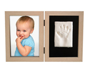 Photo and Footprint Double Frame Natural