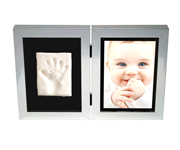 Photo and Footprint Double Frame Silver