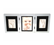 Photo and Footprint Triple Frame Silver