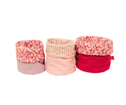Set of 3 Pink Flowers Baskets