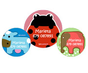 3 Pack Personalised Animal Badges